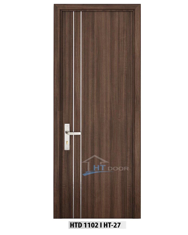 Mẫu cửa gỗ nhựa composite 2 chỉ nẹp nhôm