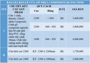 Báo giá cửa gỗ nhựa composite Quảng Ninh